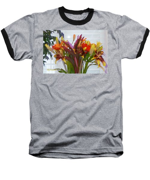 Warm Colored Flowers Baseball T-Shirt