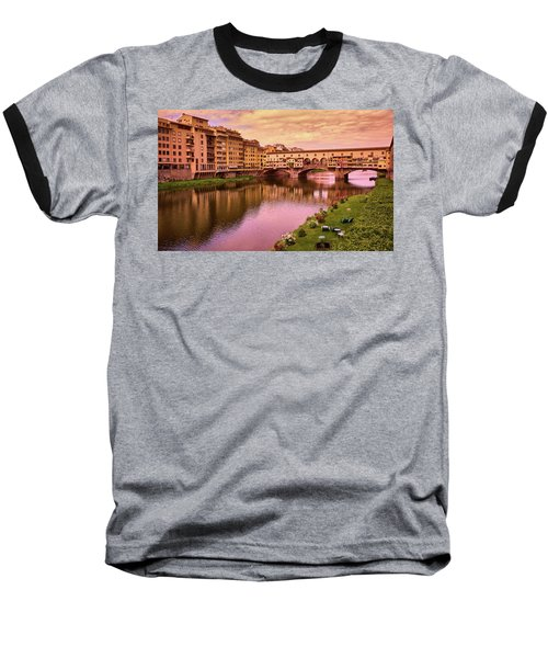 Sunset At Ponte Vecchio In Florence, Italy Baseball T-Shirt