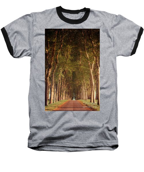 Warm French Tree Lined Country Lane Baseball T-Shirt