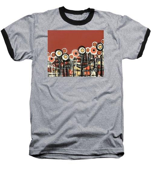 Warm Red Flowers Baseball T-Shirt