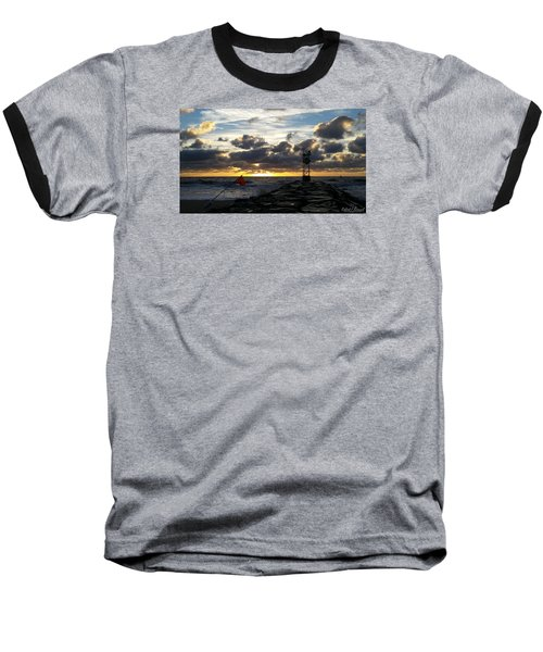 Baseball T-Shirt featuring the photograph Warning Flag At Sunrise by Robert Banach
