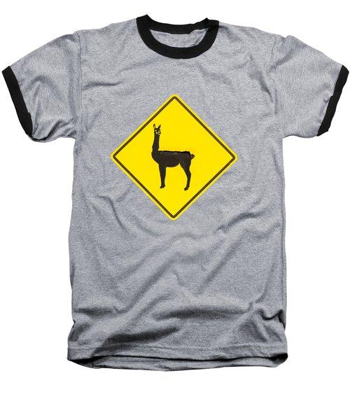 Warning Guanacos Baseball T-Shirt by Mirko Chianucci