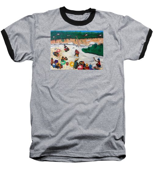 Washing Clothes By The Riverside In Haiti Baseball T-Shirt by Nicole Jean-Louis