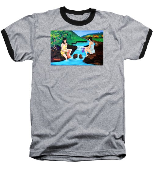 Baseball T-Shirt featuring the painting Washing In The River by Cyril Maza