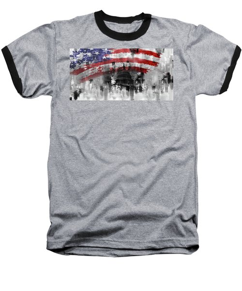 Baseball T-Shirt featuring the painting Washington Dc Building 01a by Gull G