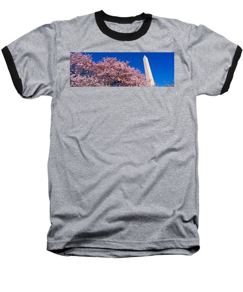 Washington Monument & Spring Cherry Baseball T-Shirt by Panoramic Images