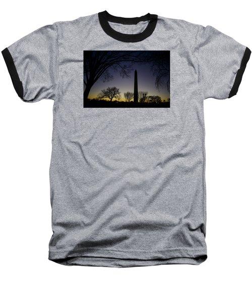 Washington Monument At Twilight With Moon Baseball T-Shirt
