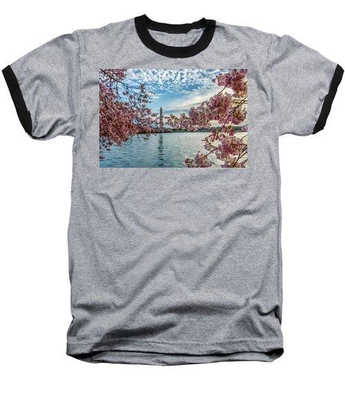 Washington Monument Through Cherry Blossoms Baseball T-Shirt