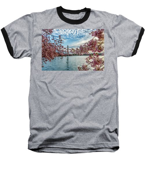 Washington Monument Through Cherry Blossoms Baseball T-Shirt