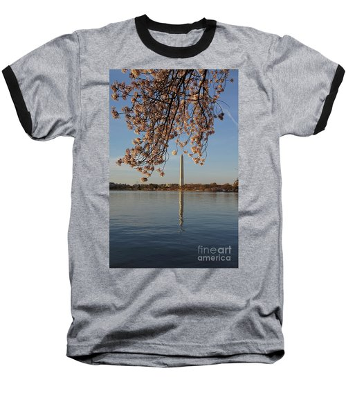 Washington Monument With Cherry Blossoms Baseball T-Shirt