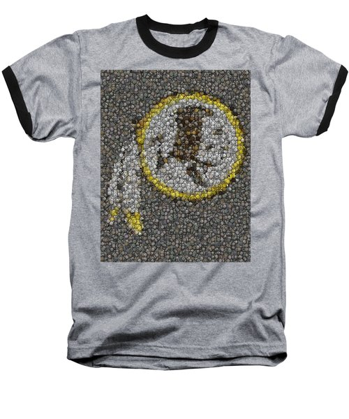 Baseball T-Shirt featuring the mixed media Washington Redskins Coins Mosaic by Paul Van Scott