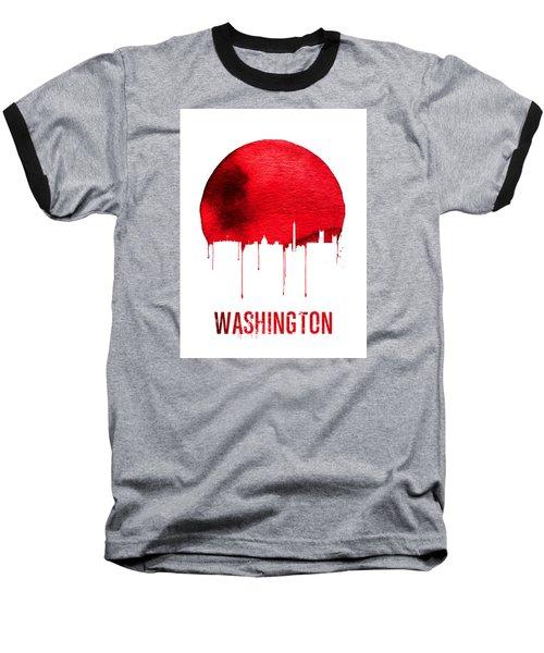 Washington Skyline Red Baseball T-Shirt by Naxart Studio