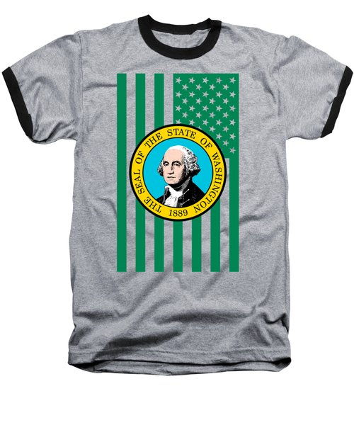 Washington State Flag Graphic Usa Styling Baseball T-Shirt by Garaga Designs