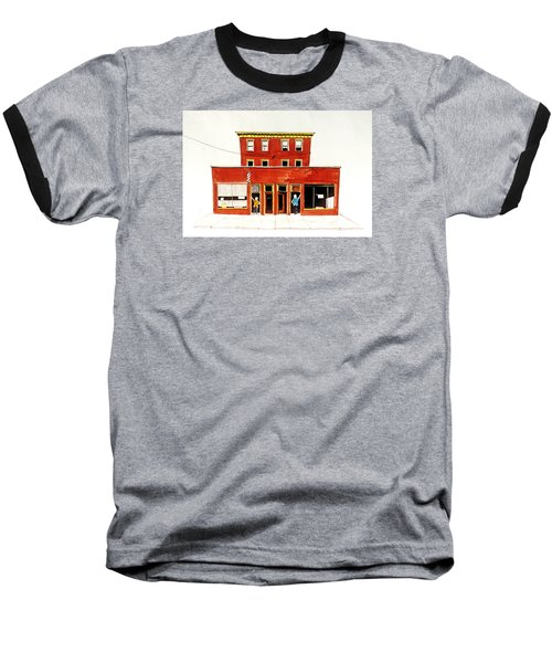 Baseball T-Shirt featuring the painting Washington Street Barbers by William Renzulli