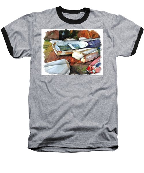 Baseball T-Shirt featuring the photograph Wat-0012 Tender Boats by Digital Oil