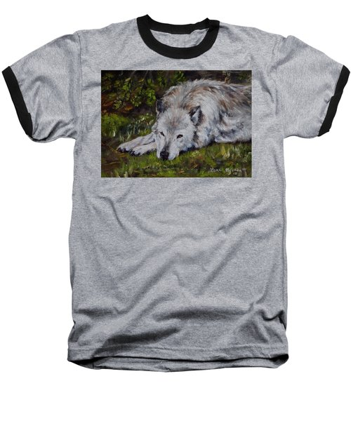 Watchful Rest Baseball T-Shirt by Lori Brackett