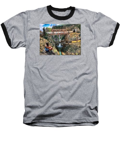 Baseball T-Shirt featuring the painting Watching The World Go By by Michael Cleere