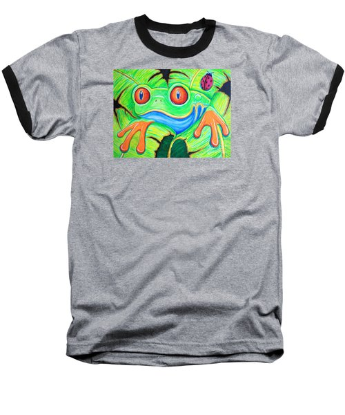 Watching You Red Eyed Tree Frog Baseball T-Shirt