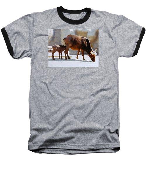 Baseball T-Shirt featuring the photograph Water Buffalo And Feeding Calf by Merton Allen