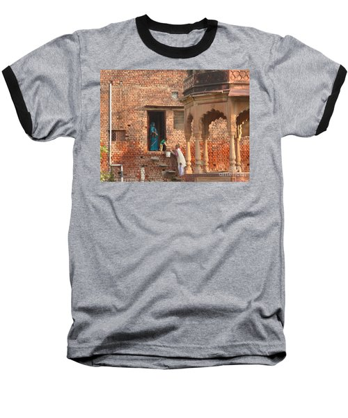 Baseball T-Shirt featuring the photograph Water Delivery In Vrindavan by Jean luc Comperat