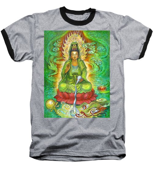 Water Dragon Kuan Yin Baseball T-Shirt by Sue Halstenberg