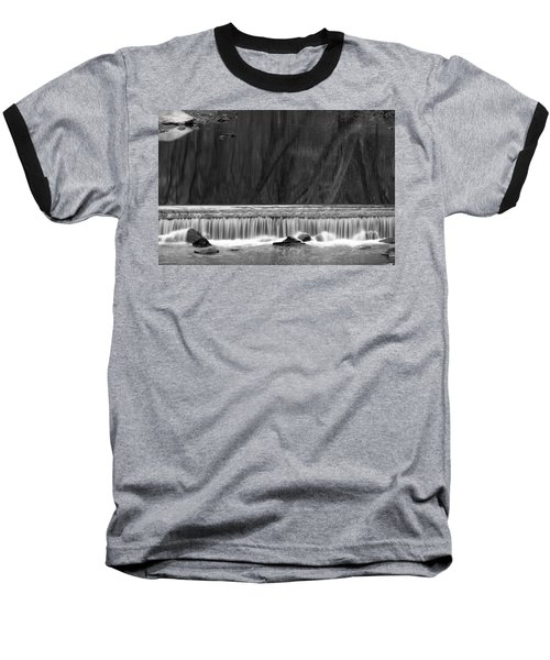 Water Fall In Black And White Baseball T-Shirt by Dorin Adrian Berbier