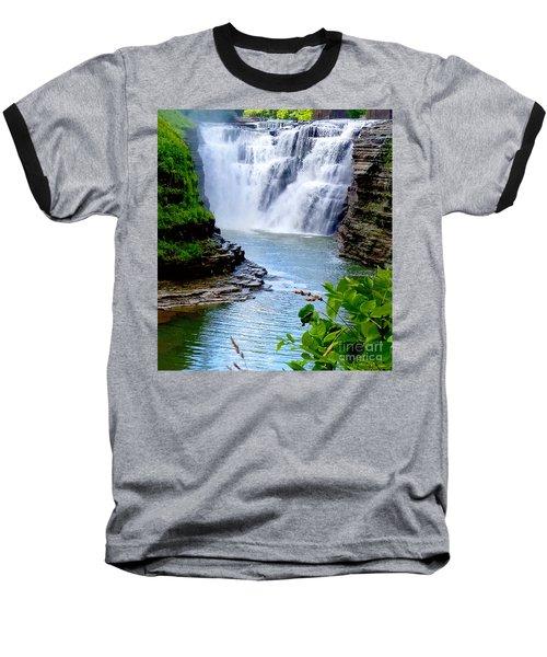 Water Falls Baseball T-Shirt by Raymond Earley