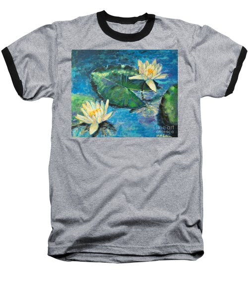 Baseball T-Shirt featuring the painting Water Lilies by Ana Maria Edulescu