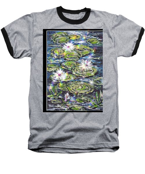 Water Lilies And Rainbows Baseball T-Shirt by Desline Vitto