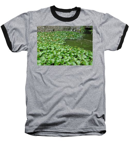 Water Lilies In The Moat Baseball T-Shirt by Susan Lafleur