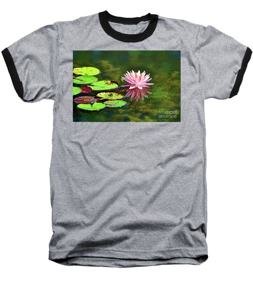 Water Lily And Frog Baseball T-Shirt by Savannah Gibbs