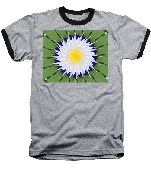 Water Lily Kaleidoscope Baseball T-Shirt by Bill Barber