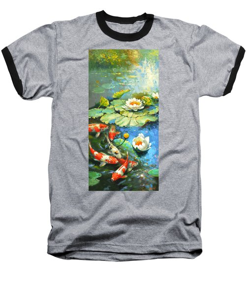 Water Lily Or Solar Pond      Baseball T-Shirt by Dmitry Spiros