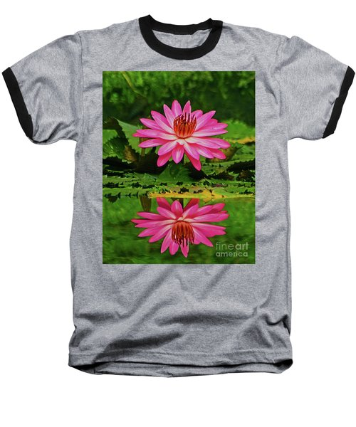 Hot Pink Water Lily Reflection Baseball T-Shirt by Larry Nieland