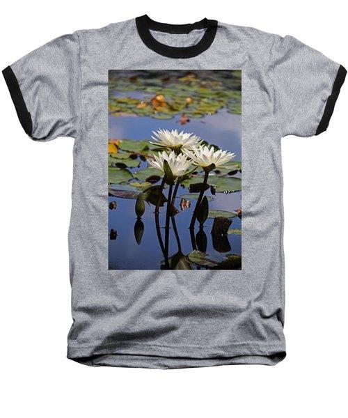 Water Lily Reflections Baseball T-Shirt