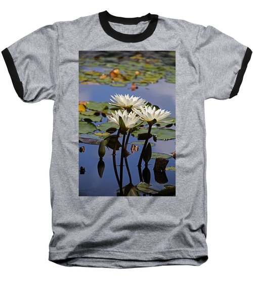 Water Lily Reflections Baseball T-Shirt