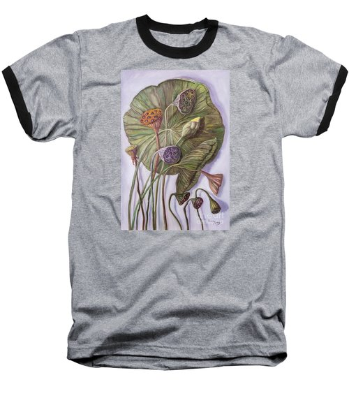 Water Lily Seed Pods Framed By A Leaf Baseball T-Shirt by Randy Burns