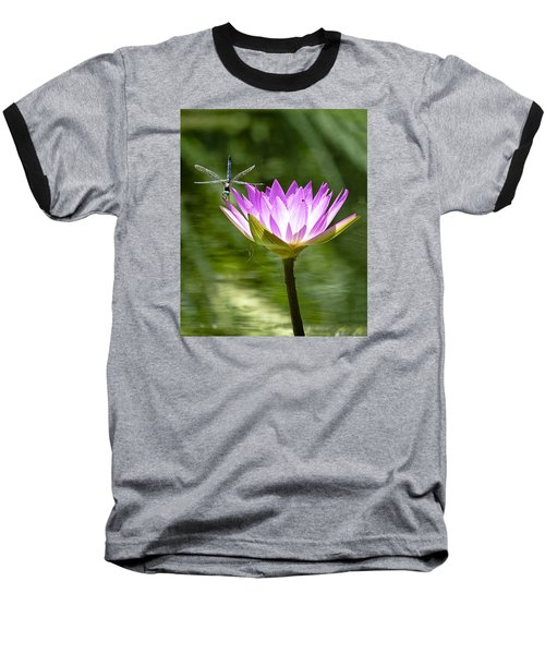 Baseball T-Shirt featuring the photograph Water Lily With Dragon Fly by Bill Barber