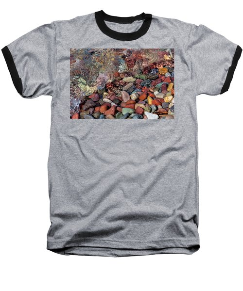 Baseball T-Shirt featuring the photograph Water On The Rocks by Fran Riley