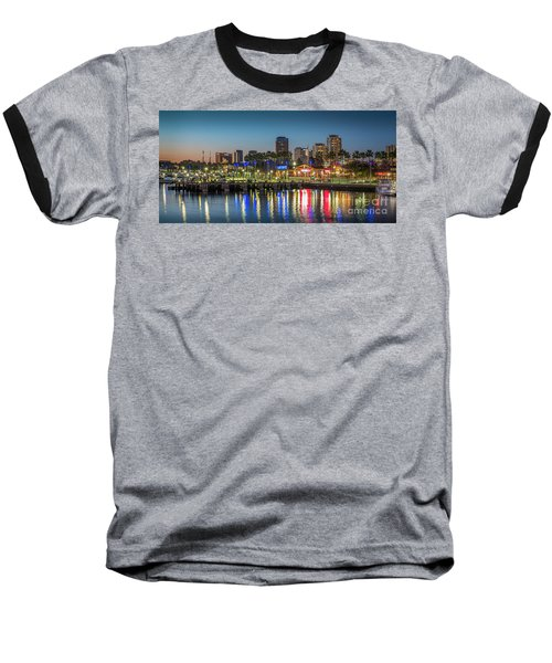Water Reflecting Lights Sunset Long Beach Ca Baseball T-Shirt