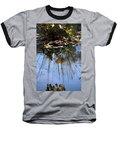 Baseball T-Shirt featuring the photograph Water Reflection Of Plant Growing In A Stream by Emanuel Tanjala