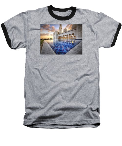 Water Sunset Temple Baseball T-Shirt