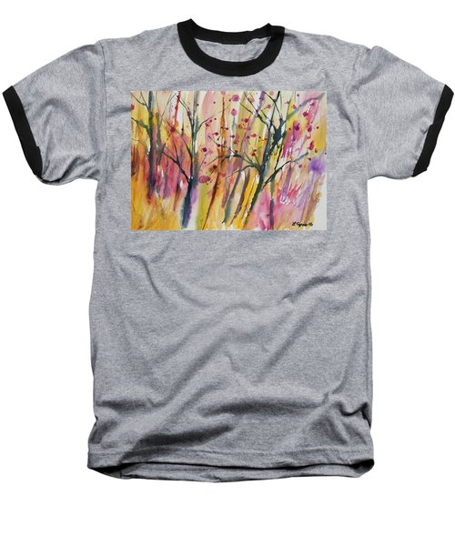 Watercolor - Autumn Forest Impression Baseball T-Shirt