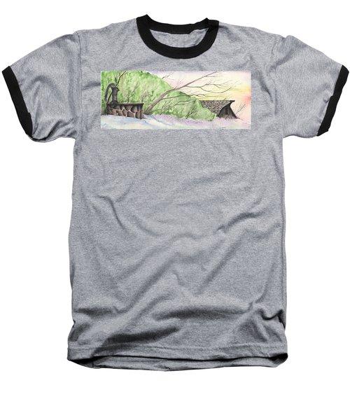 Watercolor Barn Baseball T-Shirt