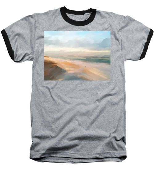 Watercolor Beach Abstract Baseball T-Shirt by Anthony Fishburne