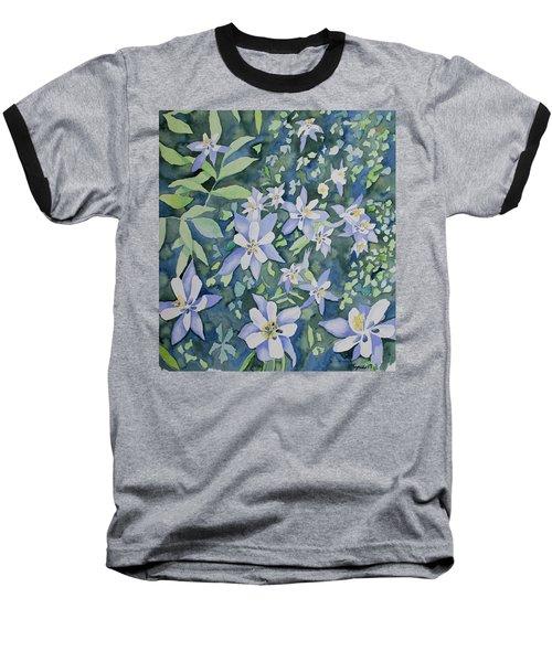 Watercolor - Blue Columbine Wildflowers Baseball T-Shirt