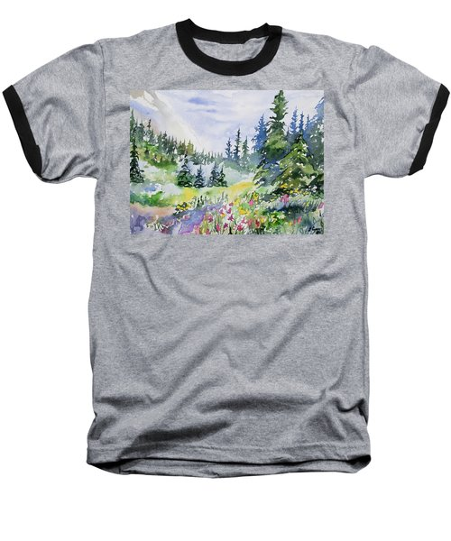 Watercolor - Colorado Summer Scene Baseball T-Shirt