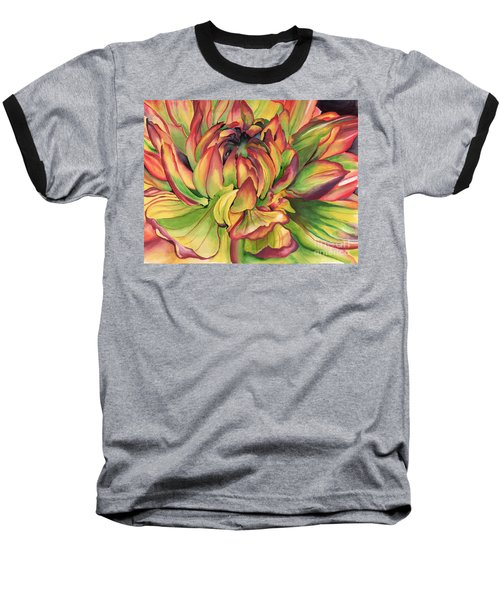 Watercolor Dahlia Baseball T-Shirt by Angela Armano