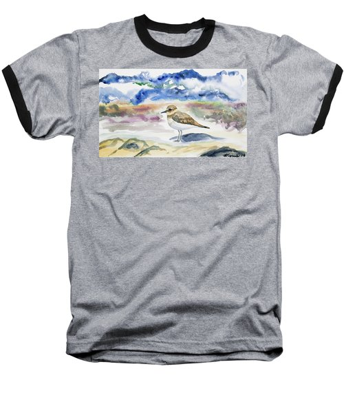 Watercolor - Double-banded Plover On The Beach Baseball T-Shirt