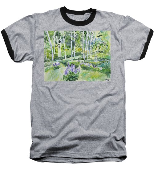 Watercolor - Early Summer Aspen And Lupine Baseball T-Shirt